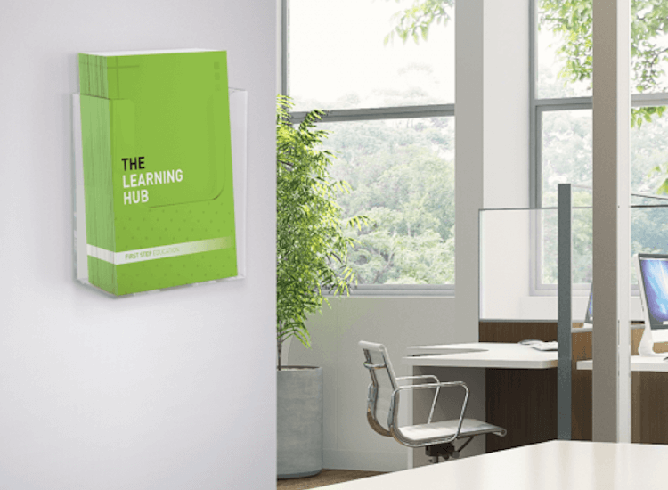 wall mounted extra capacity leaflet holder portrait for showrooms