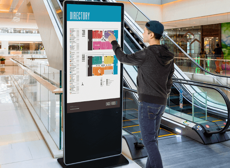 wayfinding signage systems digital touchscreen totem