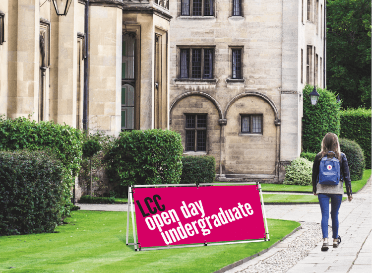 outdoor banner for a university open day