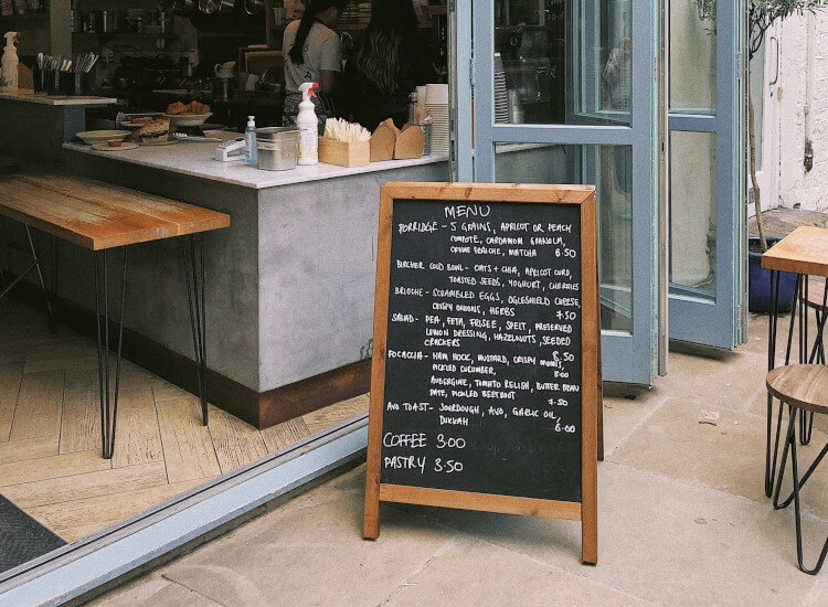 Point of sale marketing posters and chalkboards