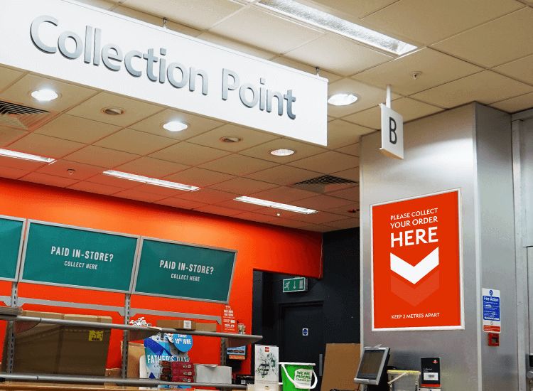 Use bespoke printed signage to advertise any changes to your services, such as for click and collect