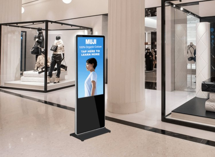 Interactive digital signs with touchscreens help connect customers with online services while in store