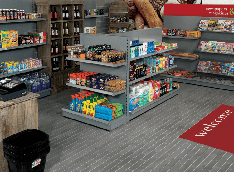 Tegometal shelving for retail, ideal for using with datastrip shelf fixings