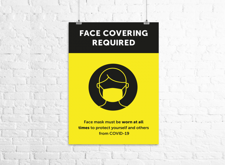 face covering required social distancing poster