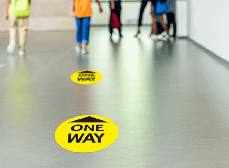 one way floor stickers school