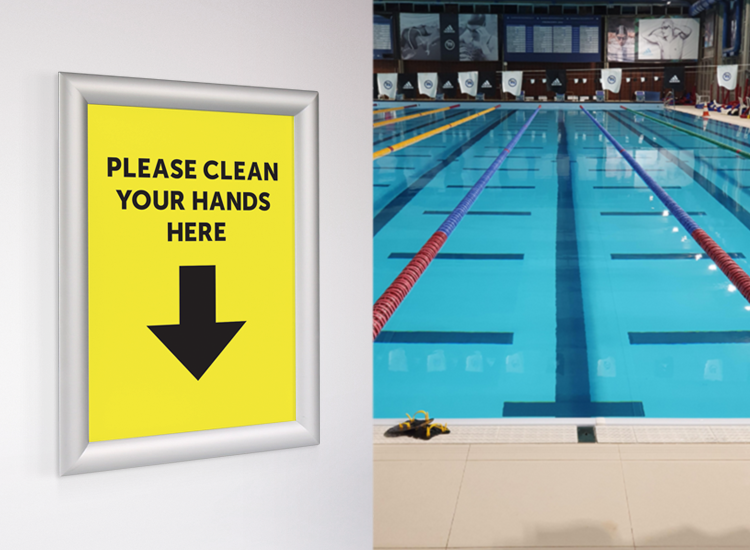 Snap frames help to display health and safety notices for gyms, pools and leisure centres