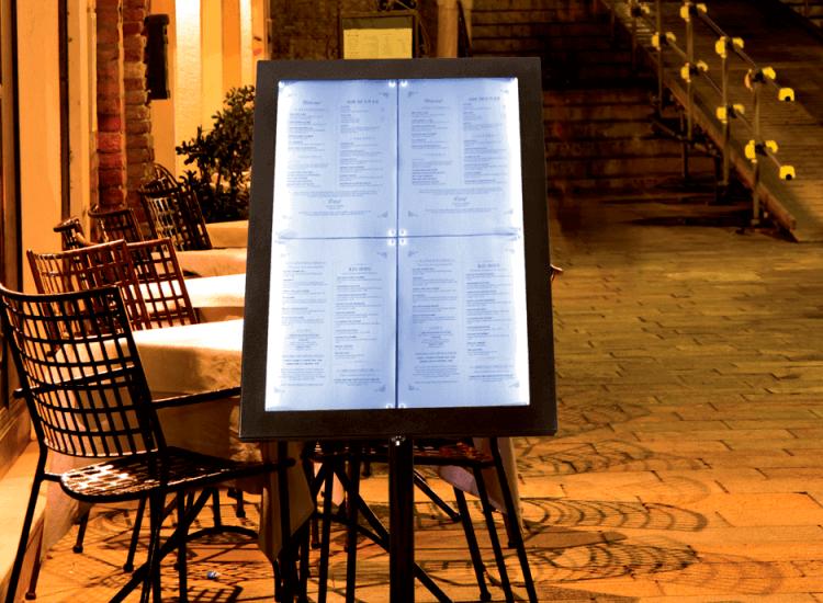 Illuminated menus for outside restaurants