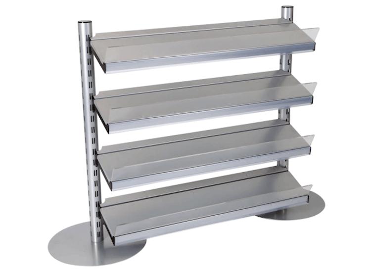in-queue merchandising shelves