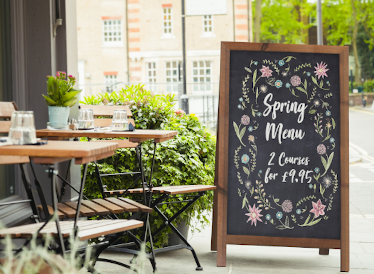 Use a rustic chalkboard A board for restaurant outdoor signs
