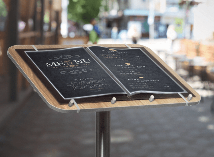 Outdoor restaurant signs, such as this restaurant menu display stand, are an effective method of restaurant advertising