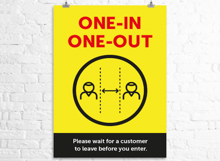 one in one out poster for retail queues
