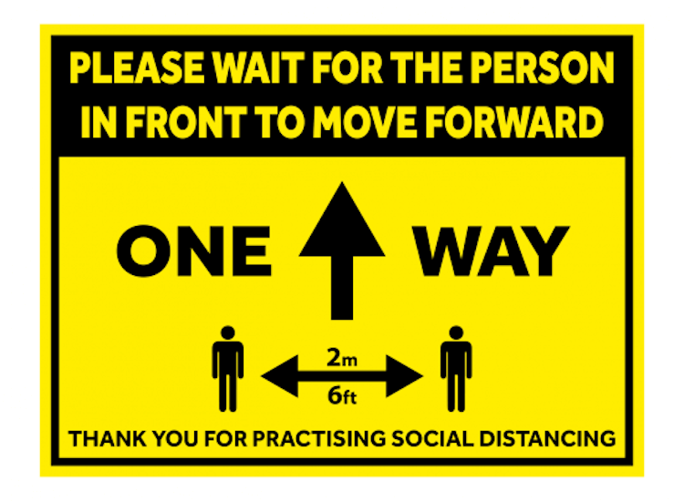 social distancing floor sticker for visitor attractions
