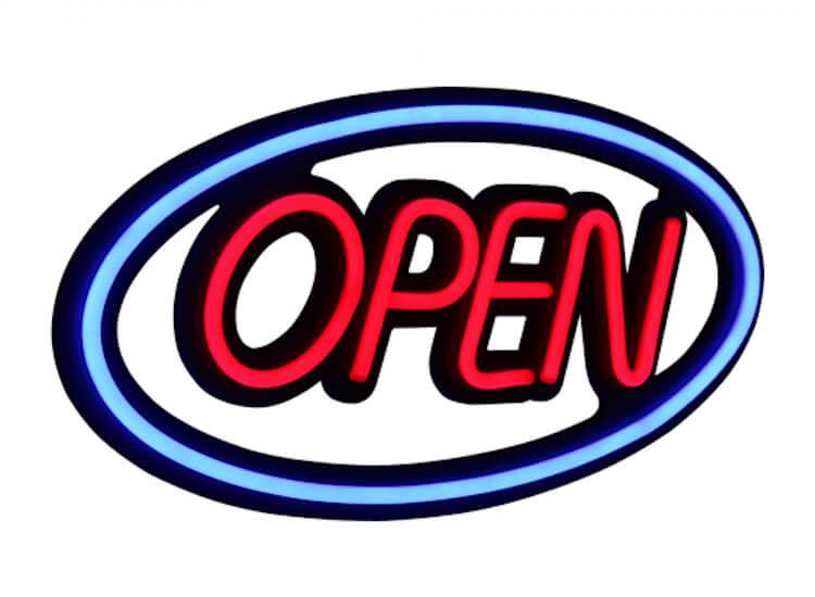 neon open sign for restaurants