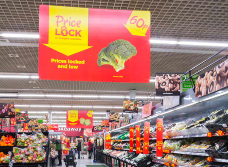 Overhead signage for pos marketing