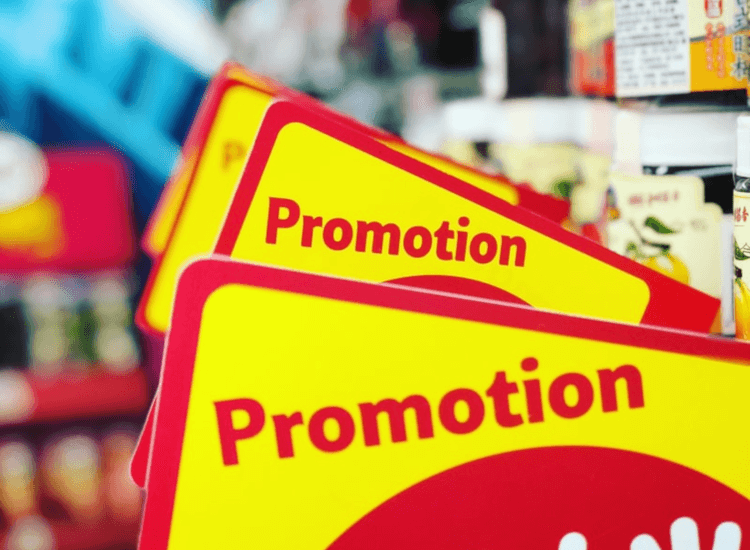 Red and yellow printed shelf barkers for retail shelf promotions