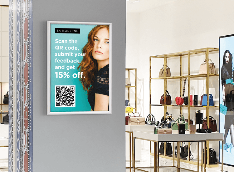 Use custom printed posters to display QR codes in fashion retail