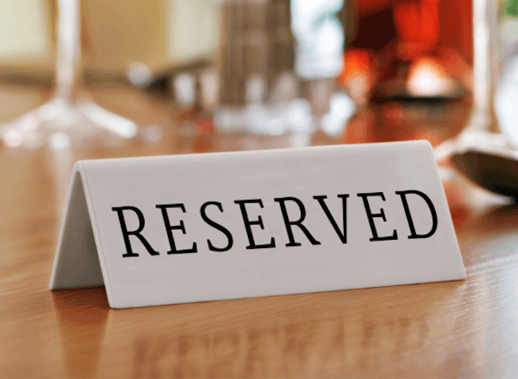 reserved sign for pubs and restaurants