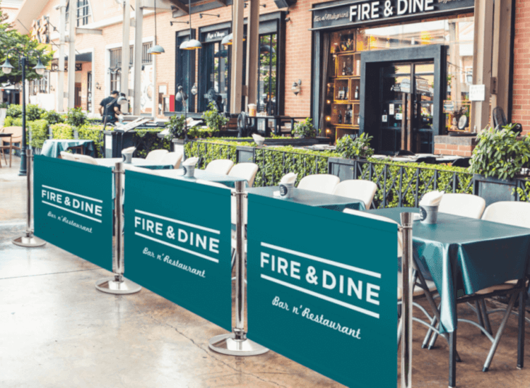 Cafe and restaurant barriers help to define an al fresco dining area