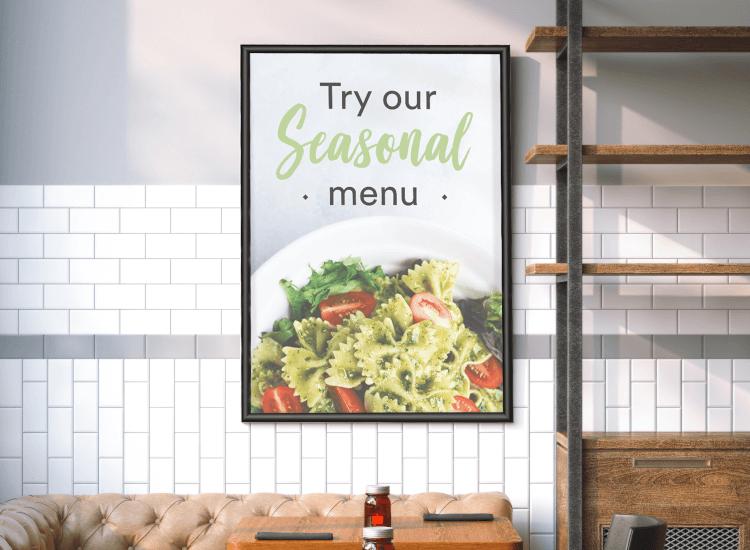 seasonal menu poster in snap frame