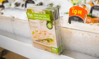 Pamphlet holders for shelf edges, maximises shelf space while encouraging customers to take away information.