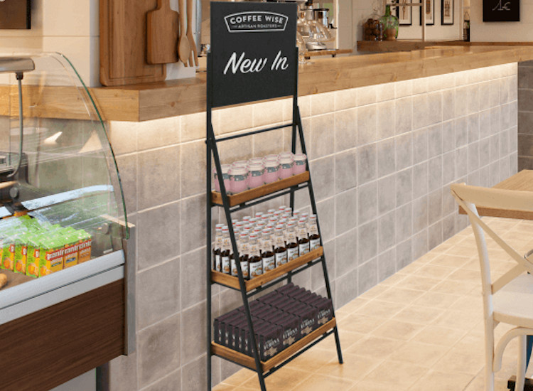 product display stands for cafes
