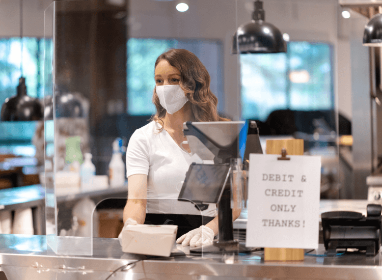 sneeze screen and mask for covid-secure retail