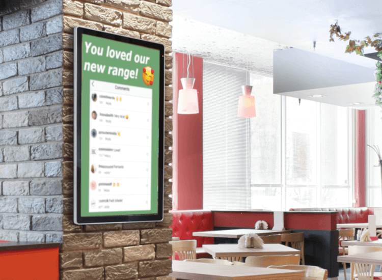 Positive comments and reviews from social media displayed on digital signage