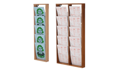 Use a magazine display rack for brochures and catalogues