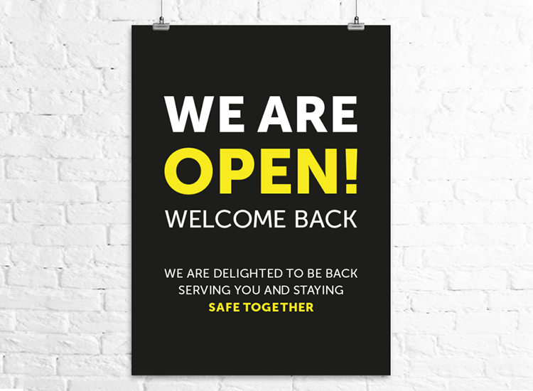 We are open sign for restaurants and cafes following lockdown