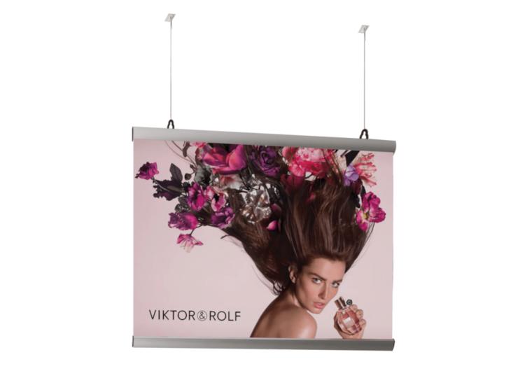 Poster hangers for window displays