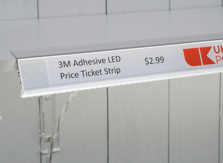 LED ticket strip for premium shelf lighting