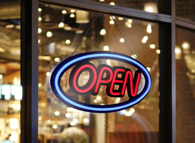 Neon open signs are the ideal window display props for late opening businesses