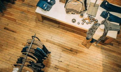 Shop floor with clothes rail