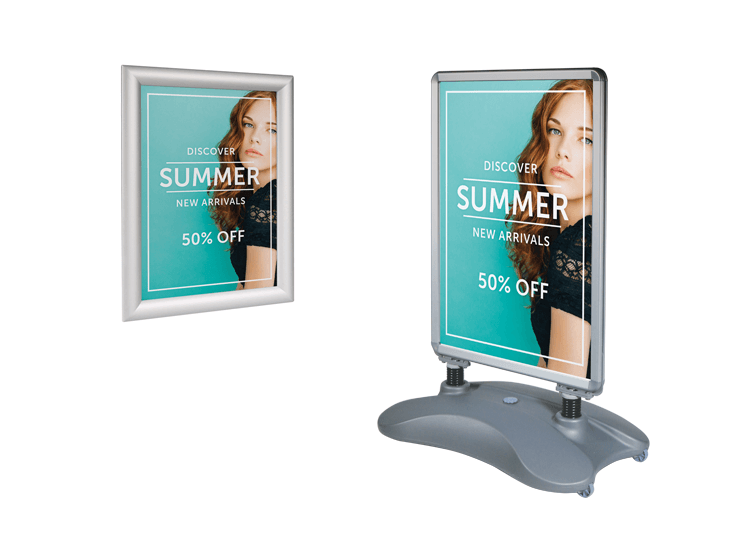 Printed posters for snapframes and pavement signs