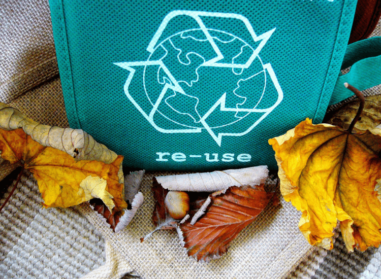 Bag printed with recycling logo