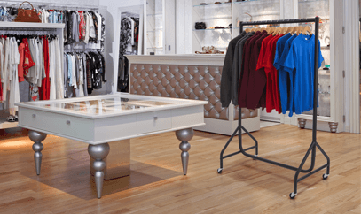 Clothing racks for shops and markets