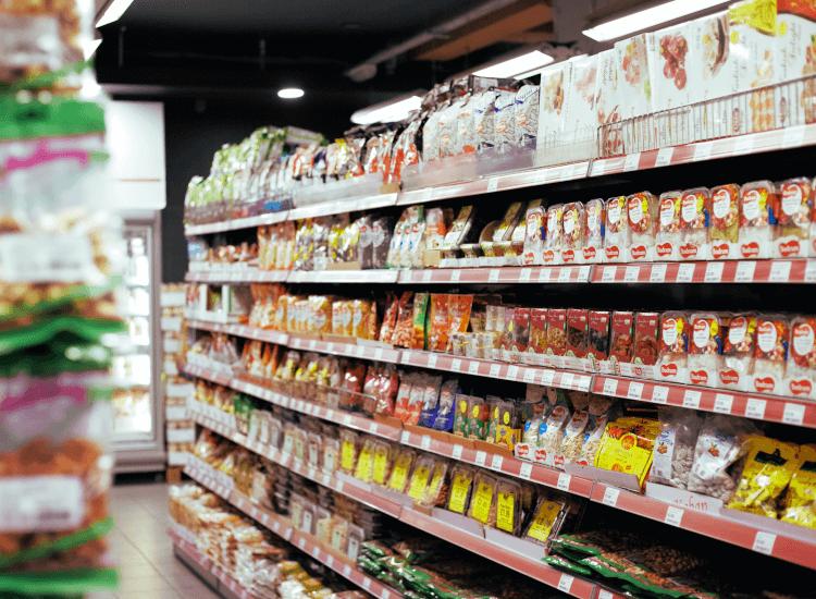 Retail shelf edge strips in a supermarket. Use a bespoke shelf edge strip for enhanced branding.