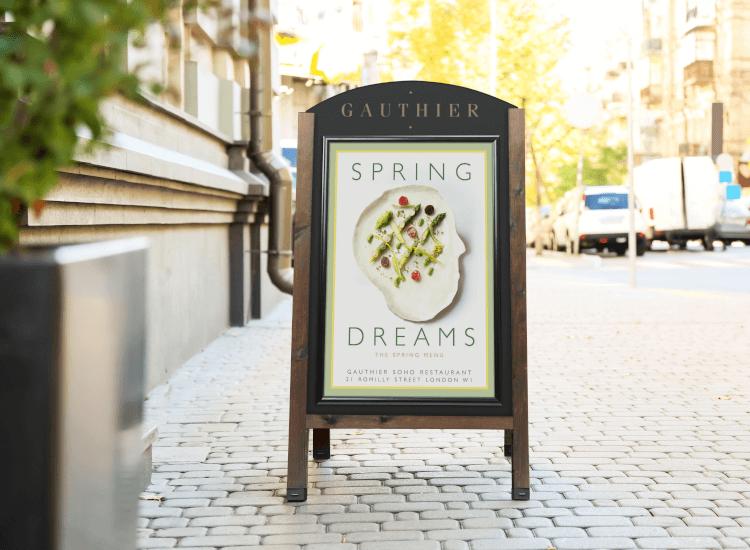 spring menu pavement sign