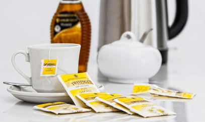 Teabag sachets featuring the Twinings logo
