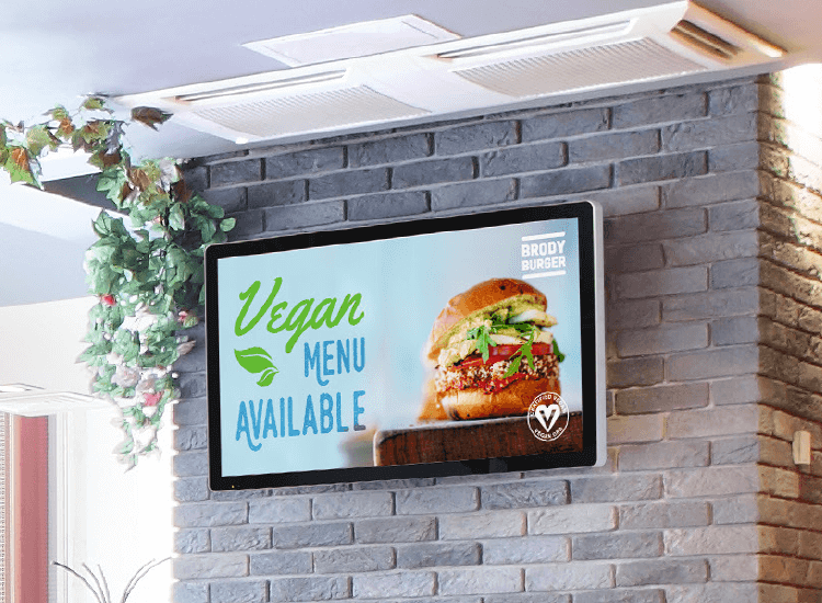 Digital display board ideas 2: posters advertising vegan menu options