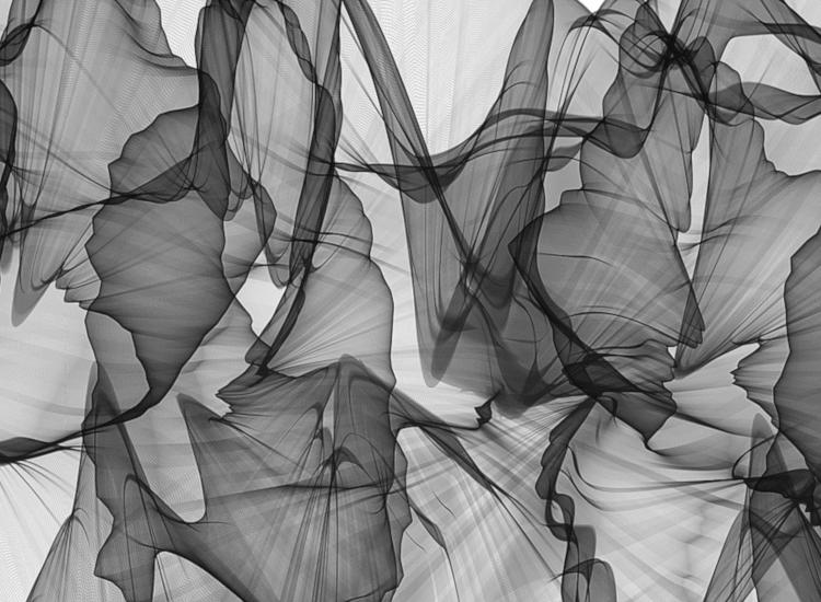 Gauzy grey fabric in a retail window display